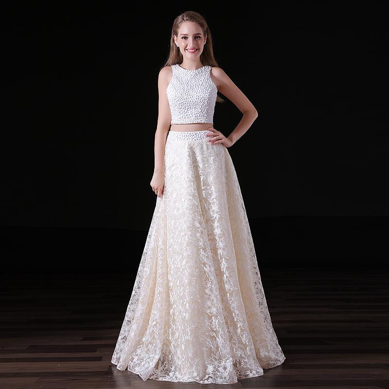 Zwei Stück eine Linie Backless Prom Kleider Samt ärmellose Scoop Neck bodenlangen Spitze formale Abendkleid nach Maß Plus Größe 15-A015