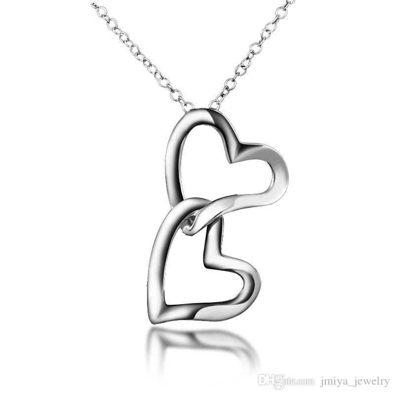 Wholesale Double Heart Pendant Design Real Gold Plating Necklace ...