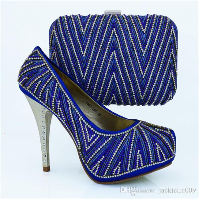Wspaniały Heel Heel 12.5 cm Afryki Buty Dopasowywanie Torba Ręka Zestaw z ładnymi Rhinestone Damskimi Pompami na Dress Party 1308-L66 Fuksja
