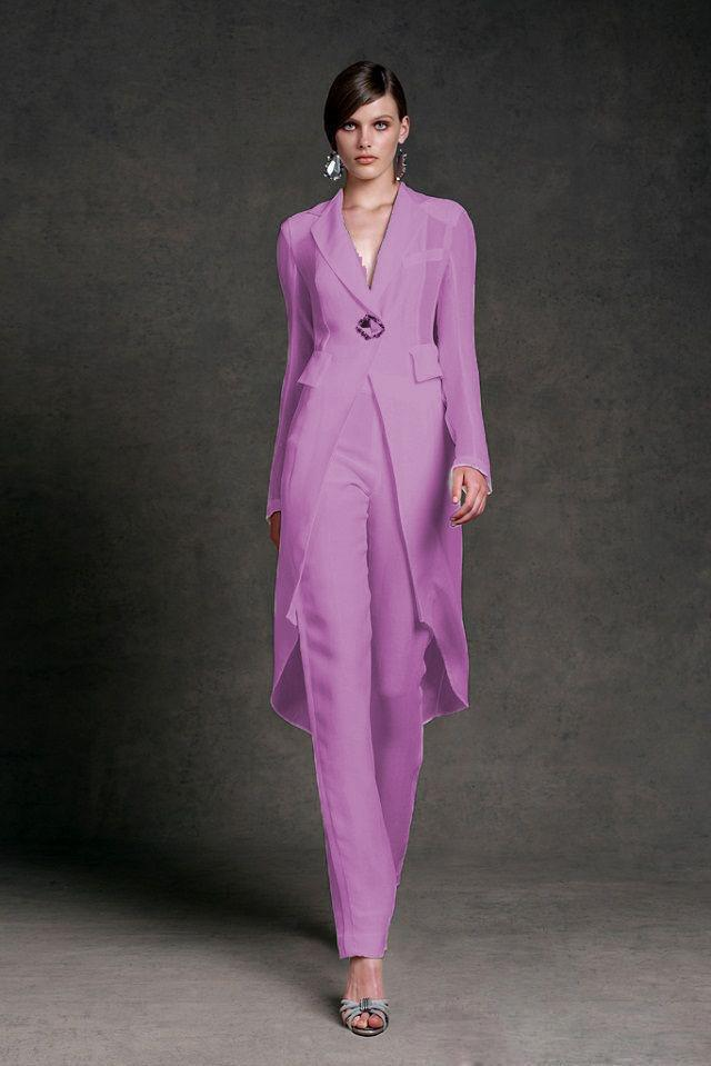 Modest Chiffon Mother of the Bride Dresses Pants Suits V-Neck Long Sleeves Formal Evening Gowns Ankle Length Mother of the Bride Suits