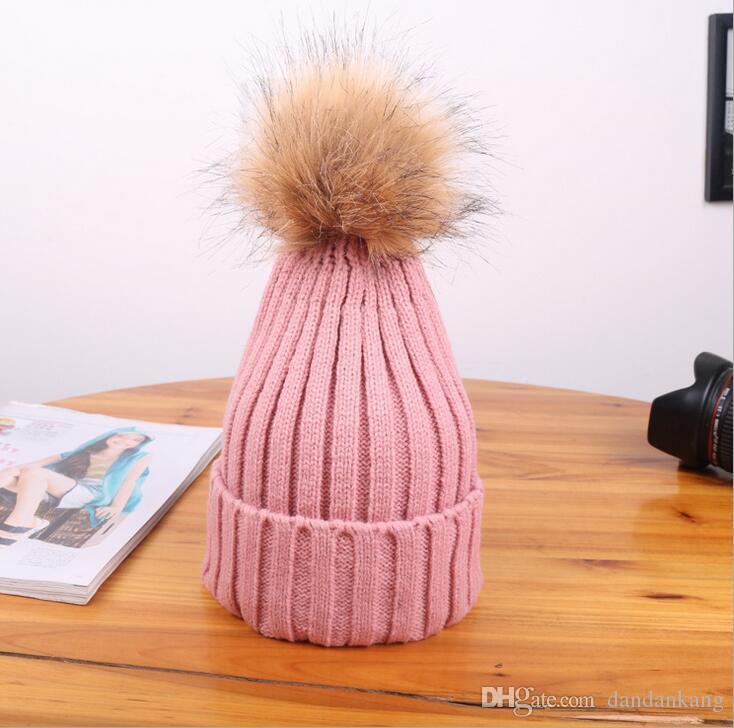 Winter Mode Frauen Beanie Classic Tight Gestrickte Pelz Pom Poms Hut Frauen Cap Winter Beanie Kopfbedeckungen Kopfschmuck Kopf wärmer Top Qualität