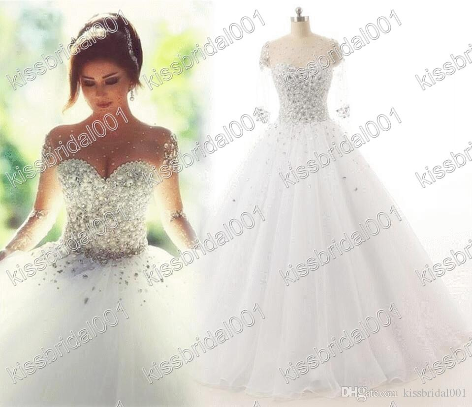 Real photo 2016 wedding dresses long sleeves crystal quinceanera real photo 2016 wedding dresses long sleeves crystal quinceanera dress elegant lace up sheer illusion neck 2015 ball gown bridal gowns pakistani wedding ombrellifo Image collections
