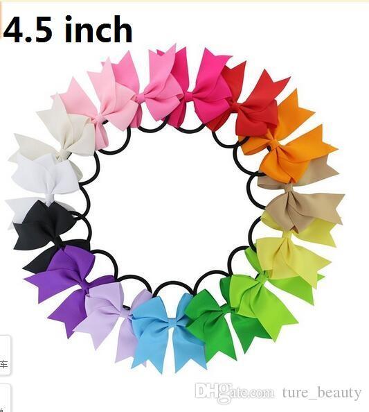 20st / parti 4,5 tum cheerleading bågar elastiska band ponny svans hållare band pinwheel båge hårband gåva baby huvudband 196 färger