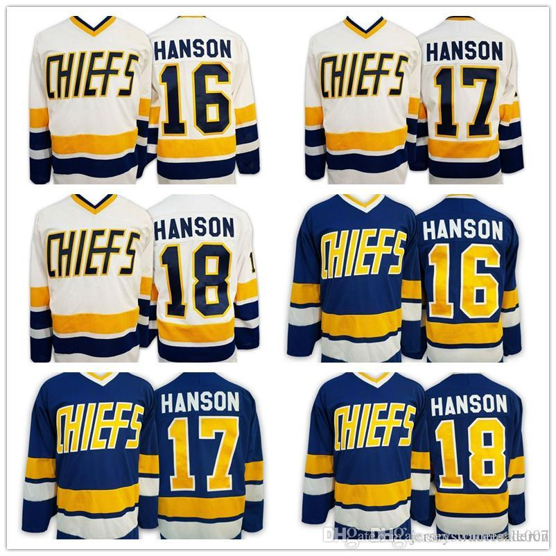 2019 New Slap Shot Movie Charlestown Chiefs Hockey Jerseys 16 Jack Hanson  17 Steve Hanson 18 Jeff Hanson Blue White Stitched Jerseys Wholesale From  ... 01fa94180