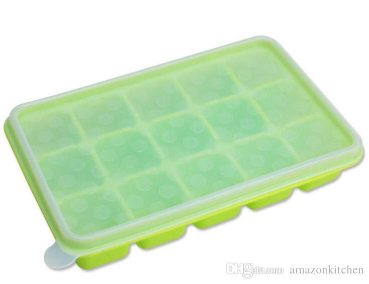 2019 Silicone Large Ice Cube Tray With Lid Flexible Baby