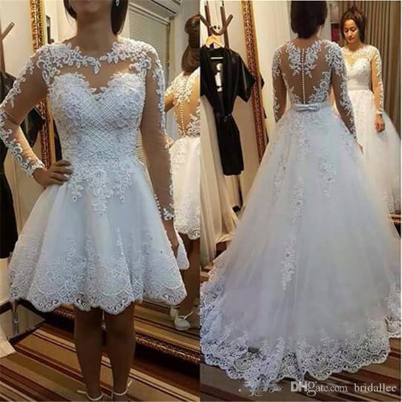 Съемная юбка Свадебные платья 2018 Свадебные платья с длинным рукавом и кружевными аппликациями Vestido De Noiva De Renda Illusion