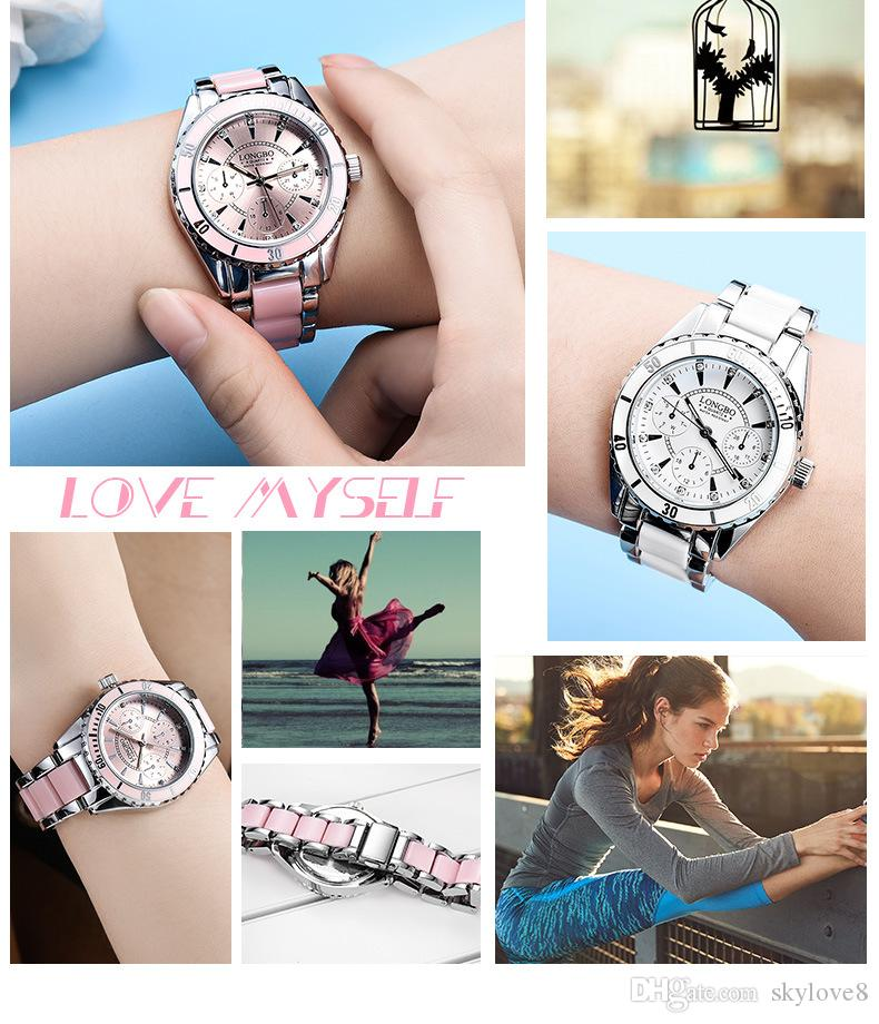 Skylove8 recommandé de haute qualité Longbo trois yeux ceinture en acier en céramique montre de la femme des hommes de mode étanche montre à quartz lumineux