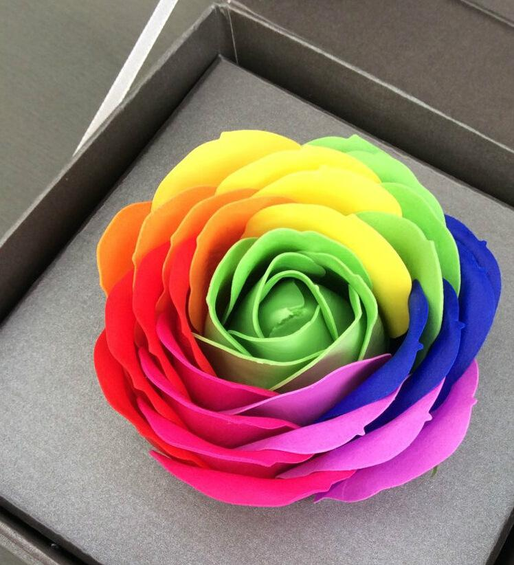 Hot Sale Rainbow 7 colorful Rose Soaps Flower Packed Wedding Supplies Gifts Event Party Goods Favor bathroom accessories soap flower artific