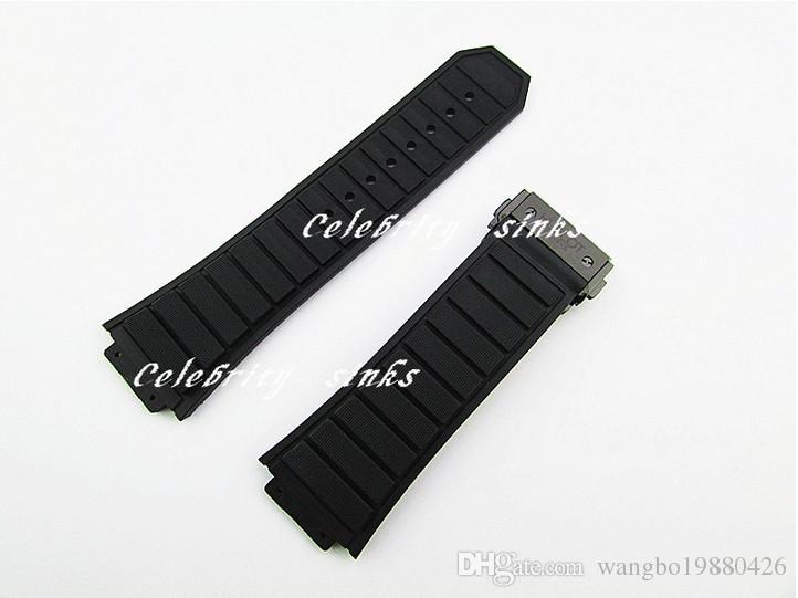 30mm X 19mm Yeni Yüksek Kalite Paslanmaz Çelik Siyah Toka Siyah Silikon Kauçuk İzle BAND Kayışı