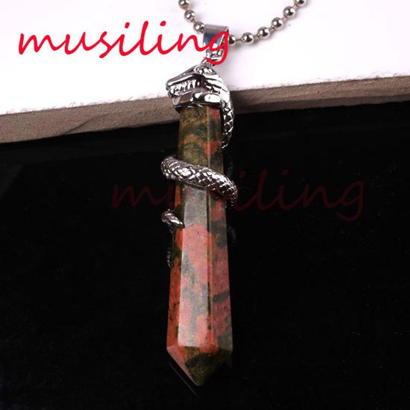 Natural Gem Stone Snake Hexagon Prism Pendants Necklace Chain Pendulum Rose Quartz Lapis Lazuli Opal etc Accessories Charms Amulet Jewelry