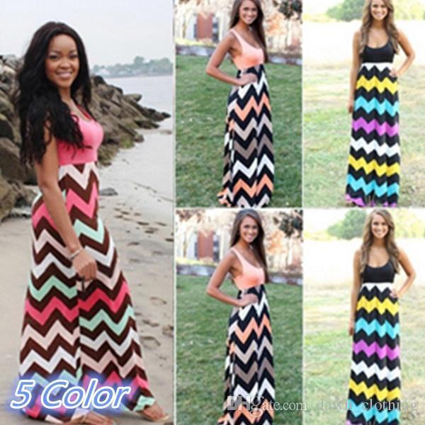 3b631c91496 Fashion Women Summer Dress Sleevelesss Maxi Long Sundress Wave Print ...