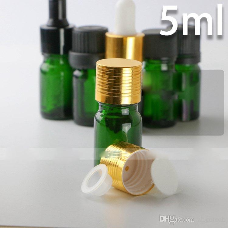 Glass Empty 5ml Dropper Bottles For Essential Oils, Green 5ml E-liquid Glass Dropper Bottles Wholesale for ELIQUID Ecigarette