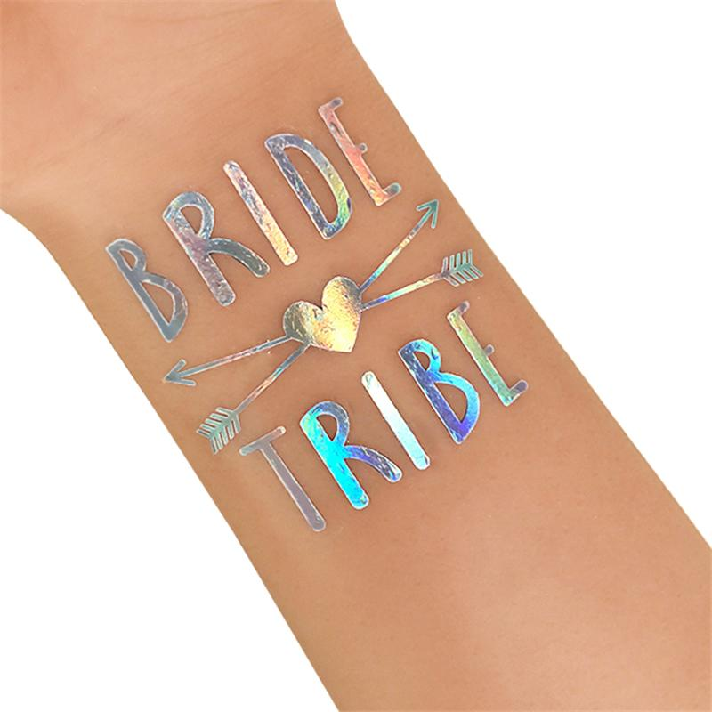 Rainbow Silver Team Bride Temporary Tattoo Stickers Bachelorette Party Bride To Be Bridal Shower Party Favors Wedding Decor