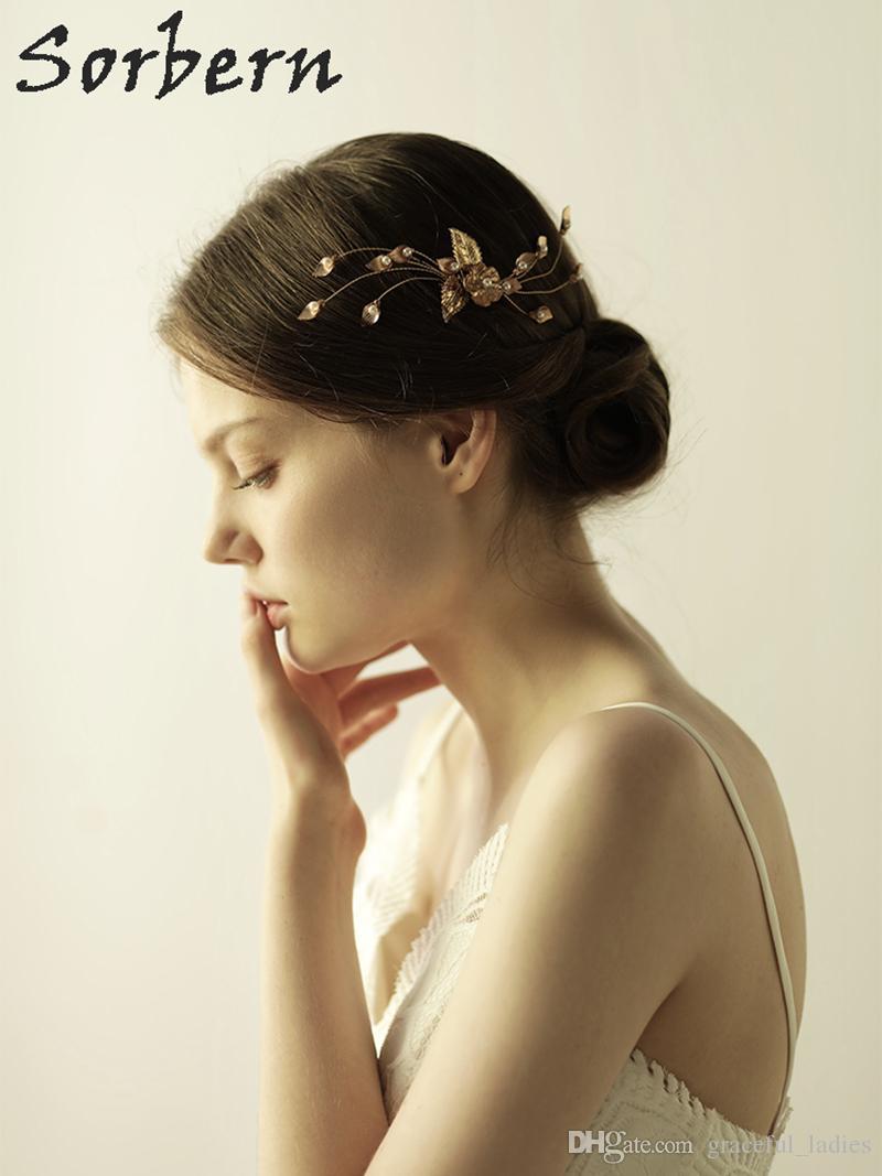 Sorbern Klasik Düğün Başlığı Altın Yapraklar Boncuk El Yapımı İnciler ve Kristal Düğün Gelin Saç Tarak Gelin Saç Aksesuarları Bantlar