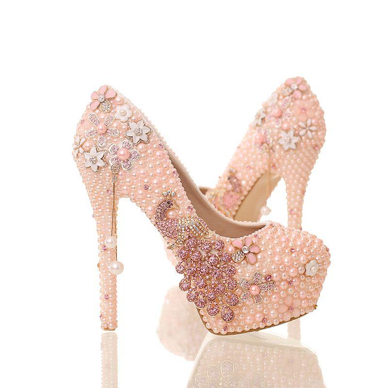 New Design Pink Pearl Bride Shoes Stiletto Heel Platform Phoenix Rhinestone Wedding Shoes Round Toe Lady Party Prom Pumps