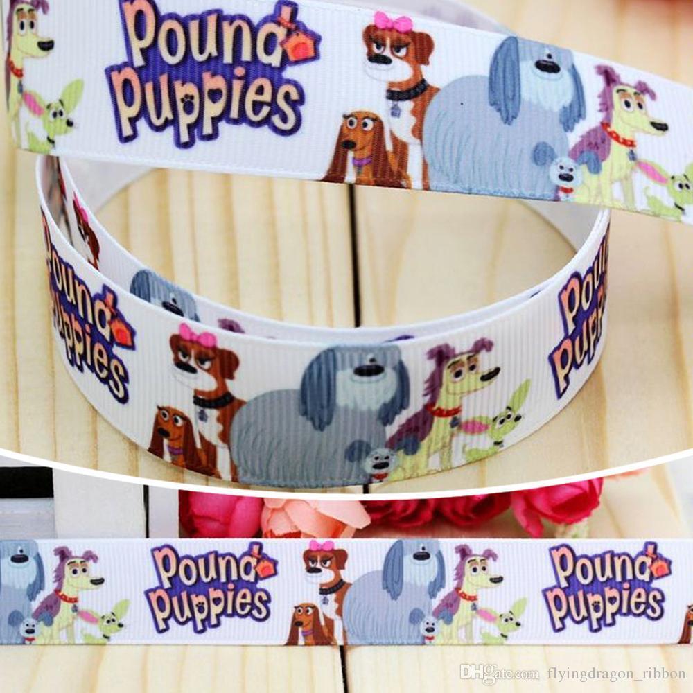 2018 7 8 22mm Cute Dogs Cartoon Pound Puppies Printed Grosgrain