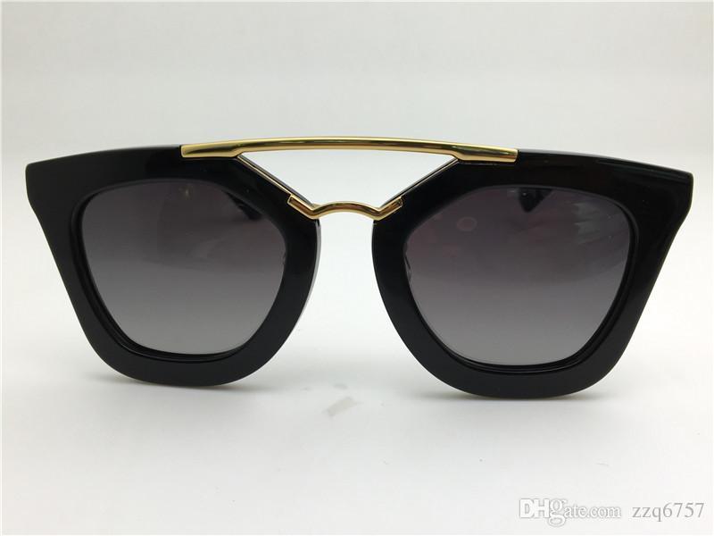 New spr Sonnenbrille 09Q Kino Sonnenbrille Beschichtung Spiegel Objektiv polarisierte Linse Vintage Retro-Stil quadratischen Rahmen Gold mittleren Frauen Designer