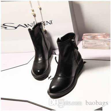 8d7258eb088 Women S Genuine Leather Boots European And American Style Round Toes Flat  Black Leather Shoes Popular All Matching Fleece Martin Boots Walking Boots  Ankle ...