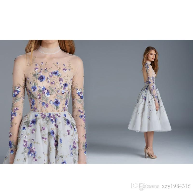 Sheer High Neck Prom Dresses Fashion Paolo Sebastian Tea Length Formal Dresses Evening Gown Sexy Long Sleeves Applique Short Evening Dresses