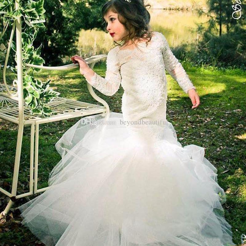 Pretty White Kids Prom Dresses Lace Applique Long Sleeve Mermaid ...
