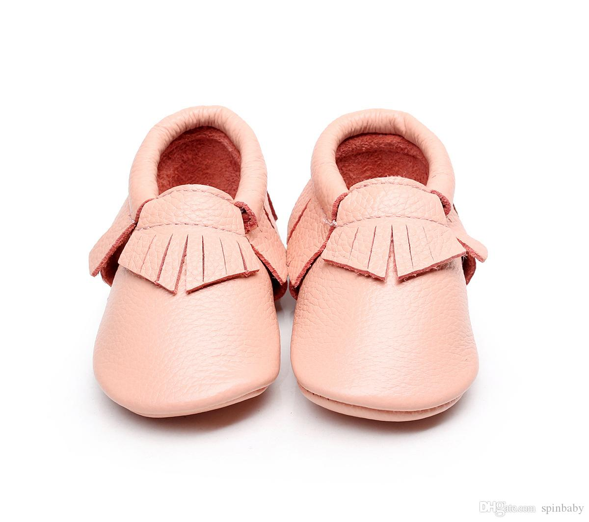 2016 Newest girls bows moccs Baby moccasins soft sole moccs genuine leather prewalker booties toddlers infants fringe bow cow leather shoes