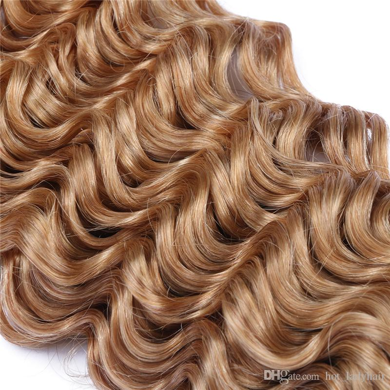 Brazilian 27 Blonde Deep Wave Hair Weaves With Lace Closure Honey Blonde Human Hair 3 Bundles With Free Part Top Closure