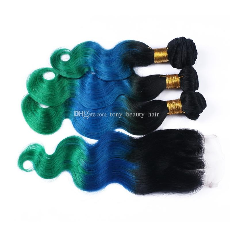 New Sale 1B/Blue/Green Ombre Human Hair 3 Bundles With Lace Closure Three Tone Body Wave Hair Weaves With Closures