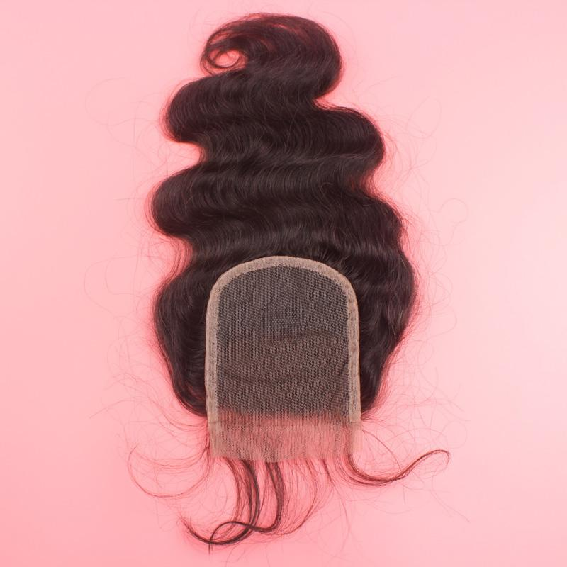 Wholesale Top Grade Malysian Human Hair Body Wave Middle Part Lace Closure 4*4 inch Swiss Lace Top Hair Piece
