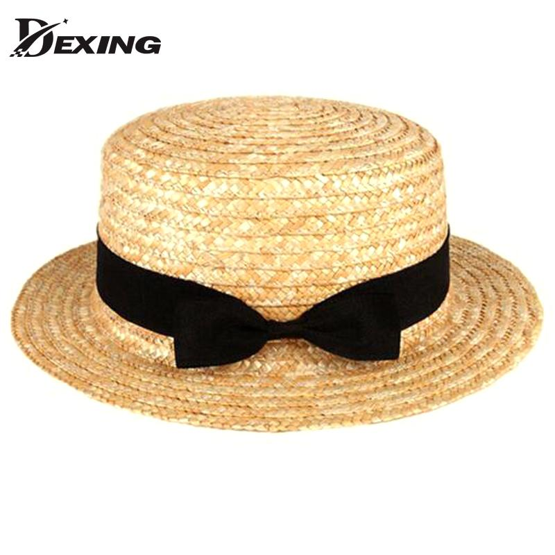 2501bb74c3d11 Compre Al Por Mayor Dexing Sombreros De Verano De Sombreros De Paja De Moda  Plana Para Las Mujeres Sombrero De Sol De Sombreros De Sol Contratados  Sombrero ...