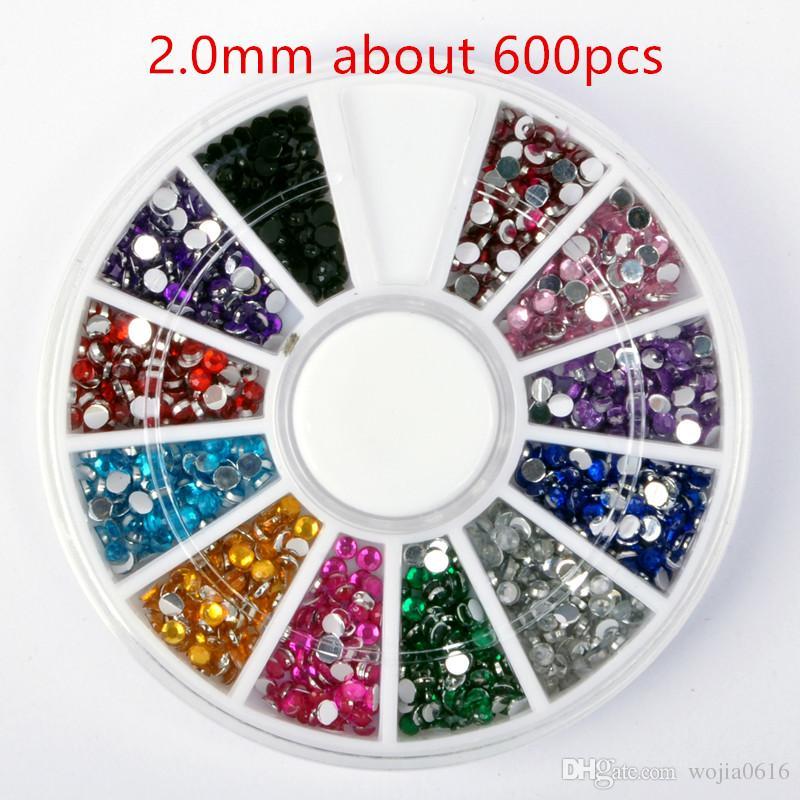 Kostenloser Versand 12 Farben 1.5 / 2.0 / 2.5 / 3.0mm CRYSTAL Nail ART Acryl Glitter RHINESTONE Nail Art Dekorationen Großhändler