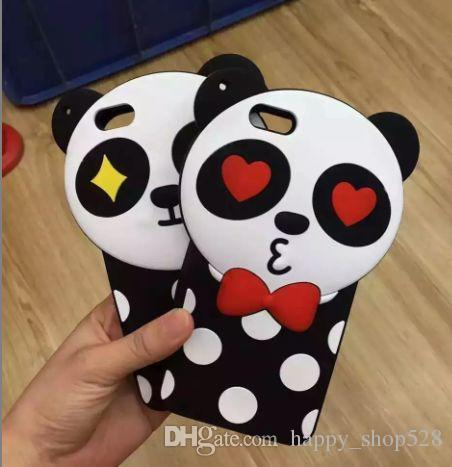 "New 3D silicone case Cute Cartoon Wave point panda Soft Silicone Cover Case For iPhone 5 5S SE 6/6S 4.7'' 6/6S plus 5.5"" case"