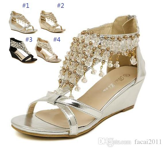 2017 New Silver Gold Wedding Bride Shoes Bohemian Shiny Beaded