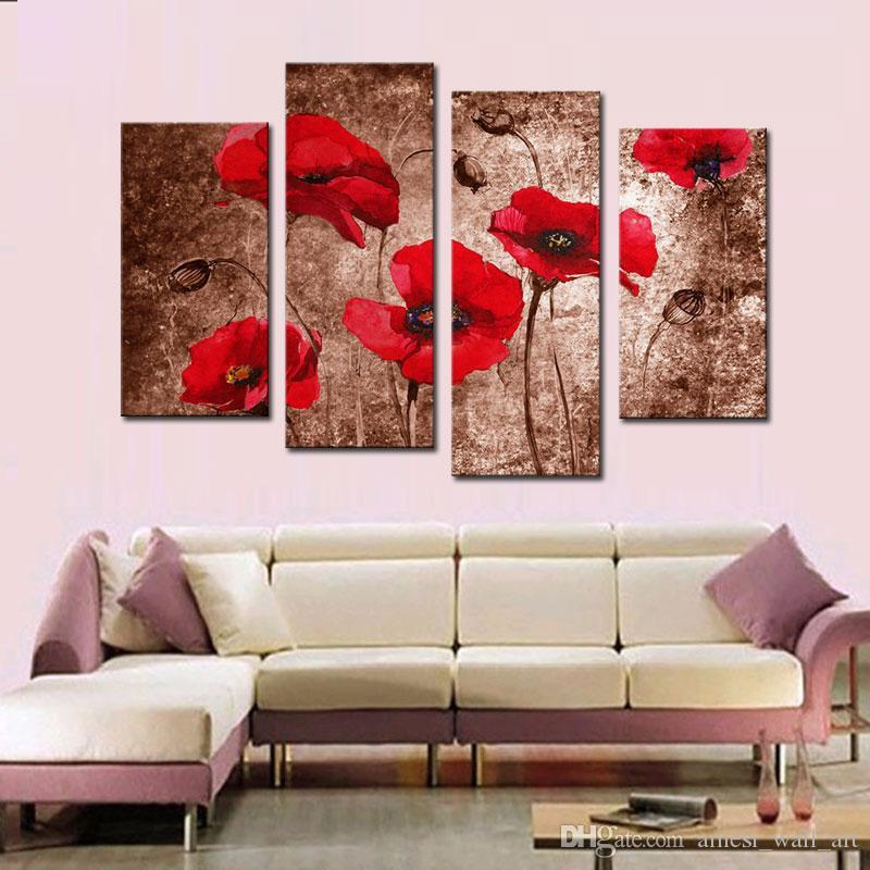 4 picture combination red poppy flower art canvas prints of 4 picture combination red poppy flower art canvas prints of paintings floral on canvas wall art for wall home decoration red poppy canvas ship paintings mightylinksfo