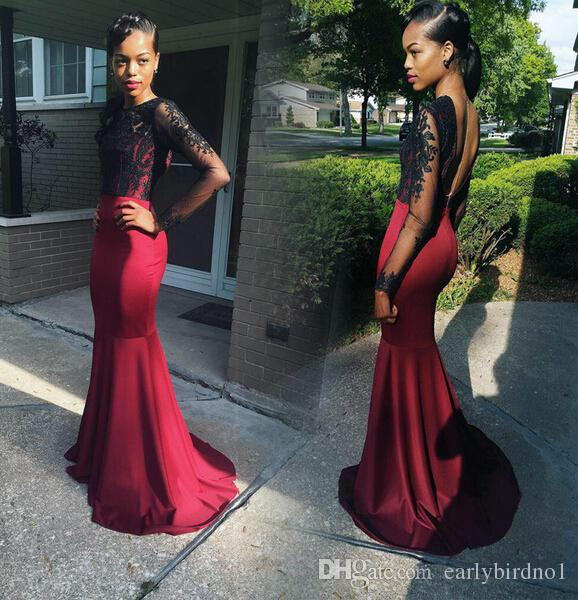2016 Sheer Long Sleeve Backless Evening Dresses Vintage Lace Mermaid Sweep Train with Appliques Red Carpet Gowns Formal Party Wear Custom