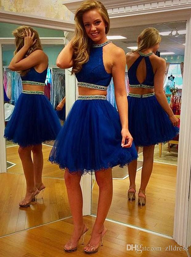 Royal Blue Two Piece Prom Dresses 2016 Halter Neck Sexy Key Hole Back Mini Tulle Homecoming Dress Beaded Petite Fast Shipping Gowns