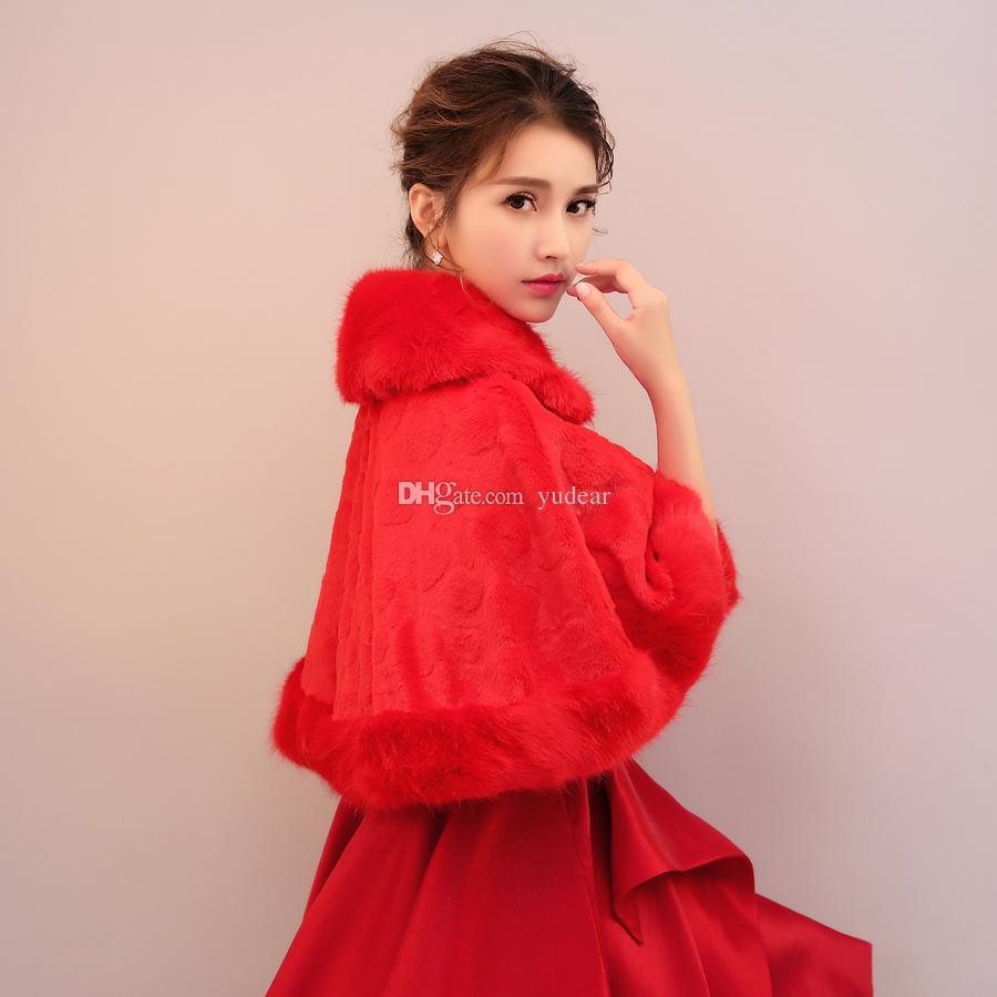 جودة عالية 2019 المرأة الدافئة المنك العرسان الأغطية الأحمر لينة الفراء عباءة تسليم سريع نصف الأكمام الأميرة بوليرو رخيصة الجملة الفتيات السترات