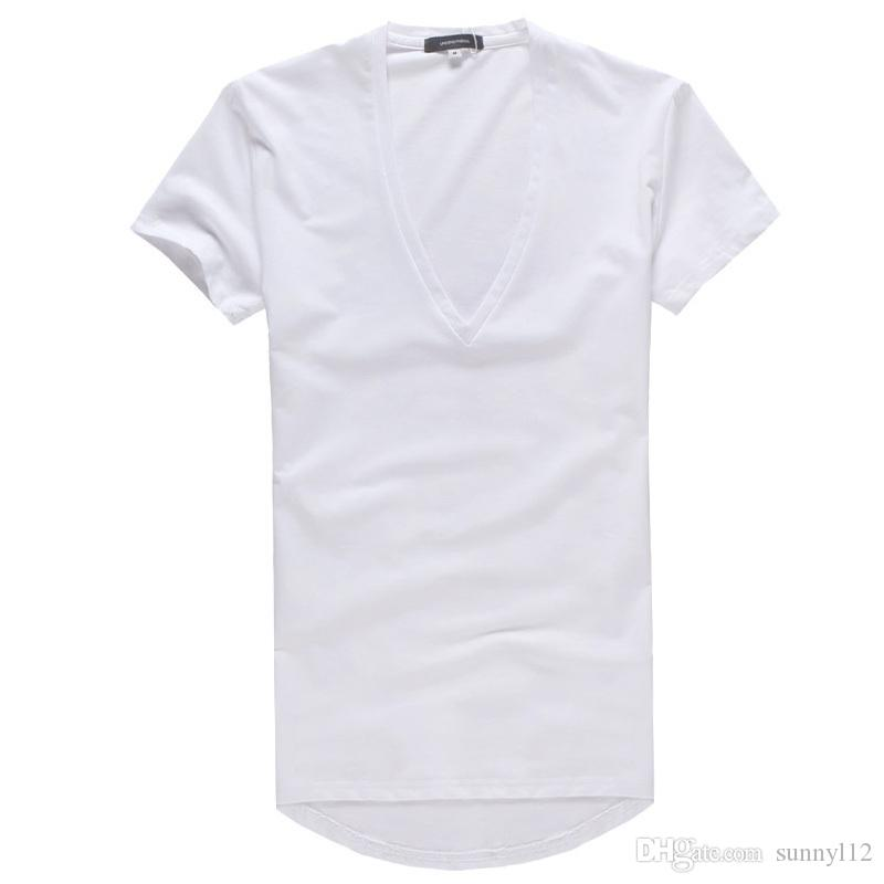 New Arrival Fashion Style Plain Mens Deep V neck Sexy Tight T Shirts S to XXL size for men t shirts