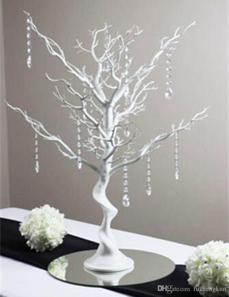 EW Novelty Christmas simulation fake tree White wedding road led decoration items with Crystal beads