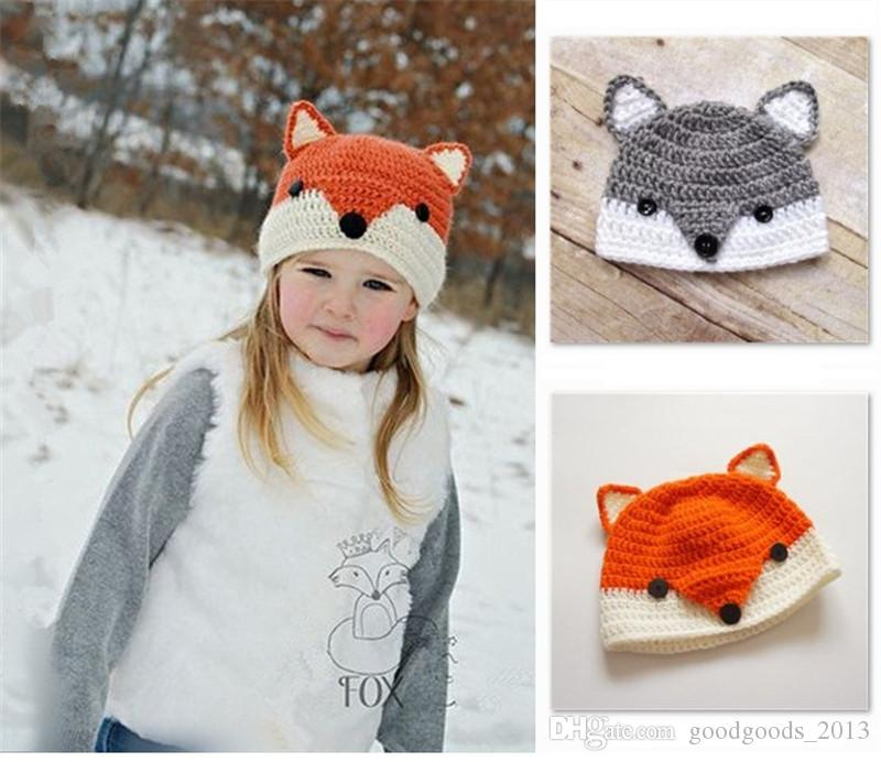 cc70d39e44a 2019 Baby Fox Beanie Animal Ear Skull Caps Fox Crochet Hats Kids Winter  Woolen Beanies Fox Baby Knitted Hats Handmade Caps Christmas Gifts B1038  From ...