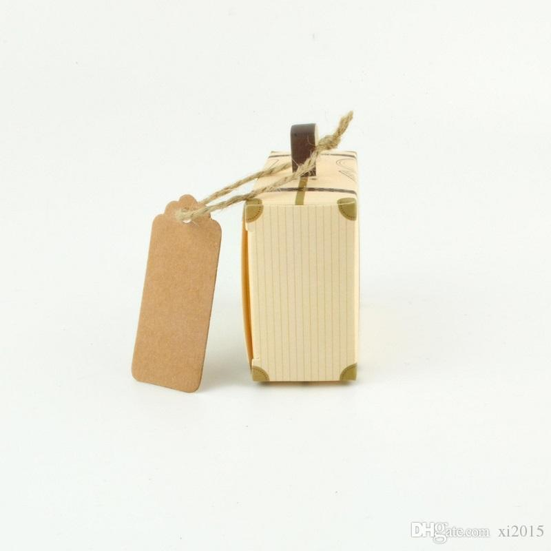 Kraft Paper Wedding Favor Box Chocolate Boxes Vintage Mini Suitcase Candy Box Sweet Bags Wedding Gift Box wen4437
