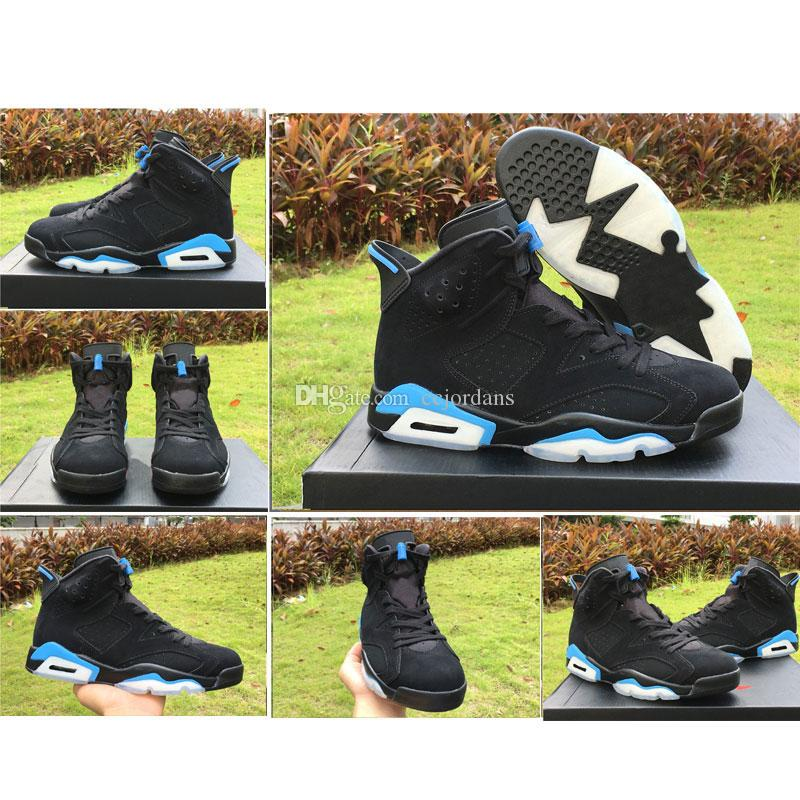 super popular a8238 408eb 2018 New 6 University Blue Men Basketball Shoes UNC Black University Blue 384664  006 VI 6S Alternate Sports Trainers Sneakers With Box Men Sneakers Sneakers  ...