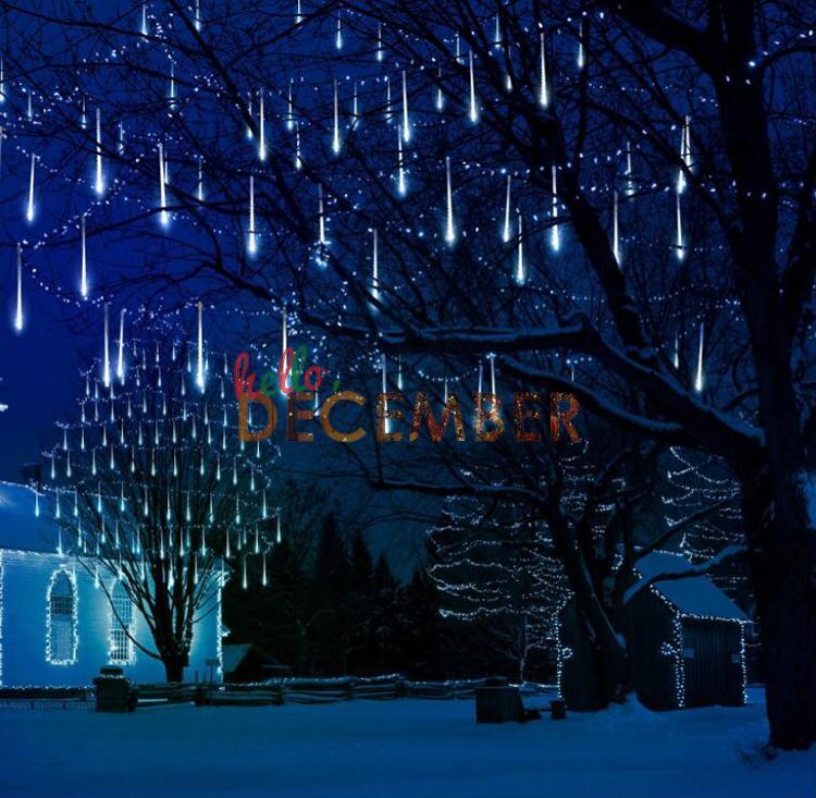 8 tube / ensemble 20CM 30CM 50CM LED pluie de pluie de météore lumières de la décoration décoration éclairage LED lumière cordes AC 110-240V