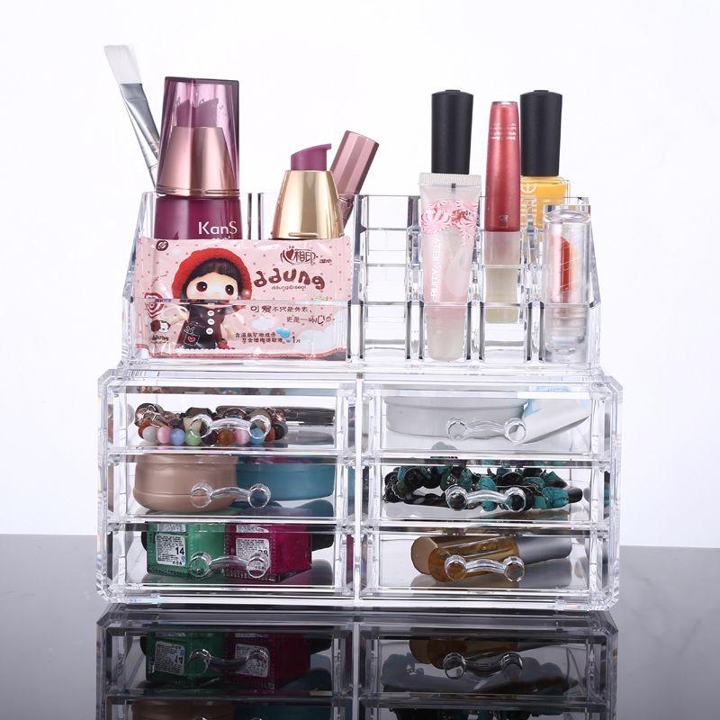 2019 Nouveau Organisateur acrylique transparent Tiroir Grids maquillage transparent Boîte d'affichage pour stockage VOTRE MEILLEUR CHOIX