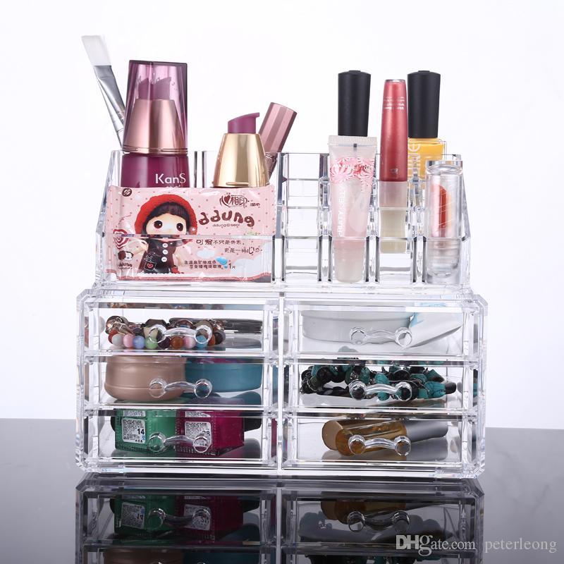 2019 Nueva Organizador Acrílico Cajón Rejillas de maquillaje transparente Pantalla caja de almacenamiento SU MEJOR OPCIÓN