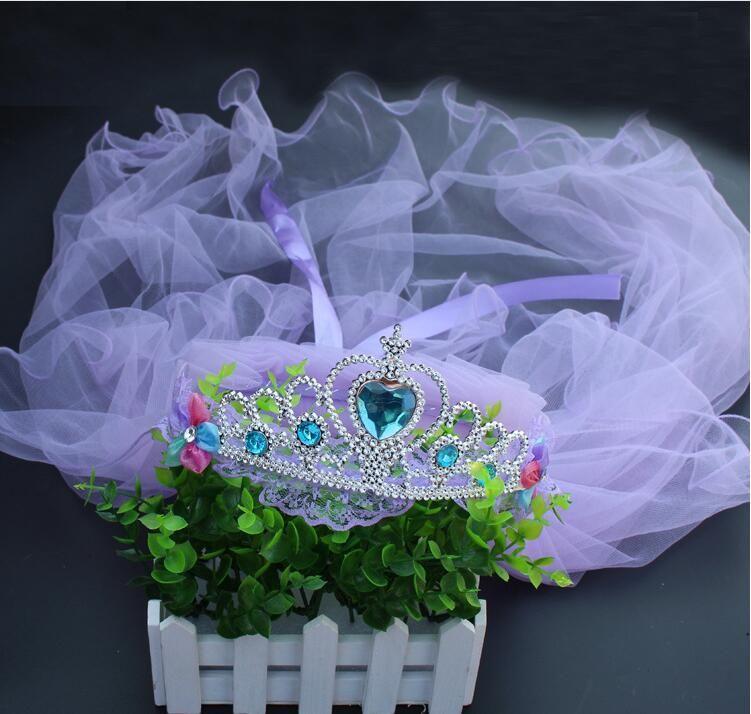 2017 девушки Корона вуаль для свадьбы ну хрустальный свадебный венок голову обруч кружева принцесса головной убор венок