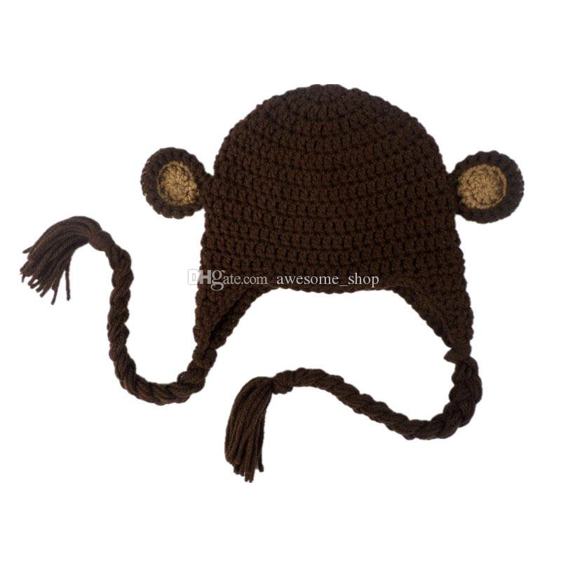 Novelty Handmade Knit Crochet Baby Boy Girl Monkey Hat,Newborn Animal Earflap Hat,Kids Halloween Costume,Infant Toddler Photo Prop