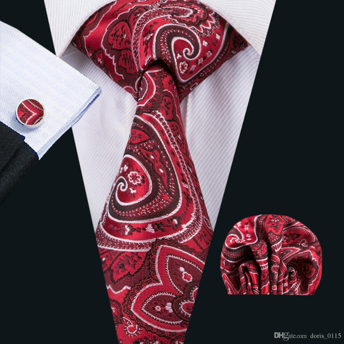 8cbfd90ddc22 Classic Silk Mens Ties Red Tie Set Paisley Mens Neck TiesTie Hanky ...