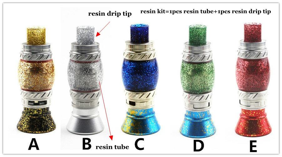 Replacement Shiny Resin Kit Set with Resin Tube Caps and Drip Tip for TFV8 Big Baby Prince Beast Tank Vape