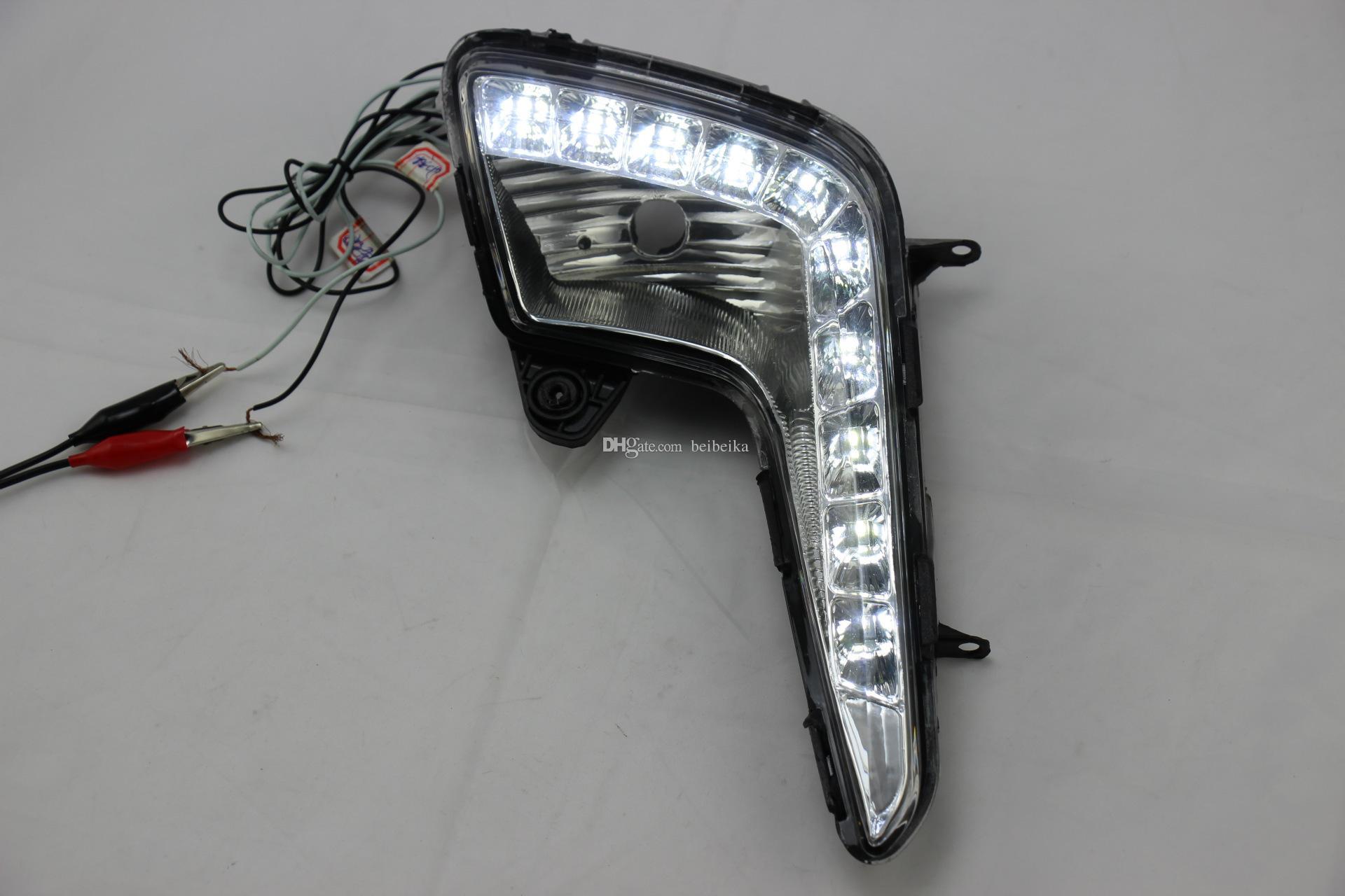Auto-Tech 10-LED luz de circulação diurna, montagem da luz de nevoeiro Retrofit carro LED branco kit DRL para 2011-2013 KIA K2 RIO