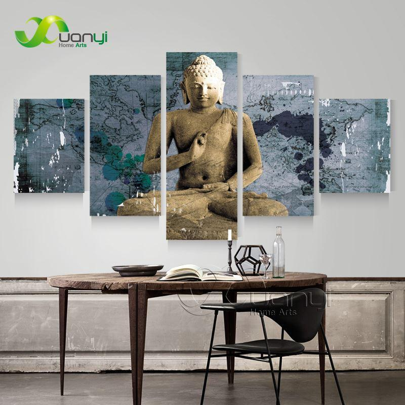 5 Panel Buddha Painting Modern Home Decoration Buddha Canvas Art Wall Picture Vintage Home Decor Canvas Prints Unframed PR1264